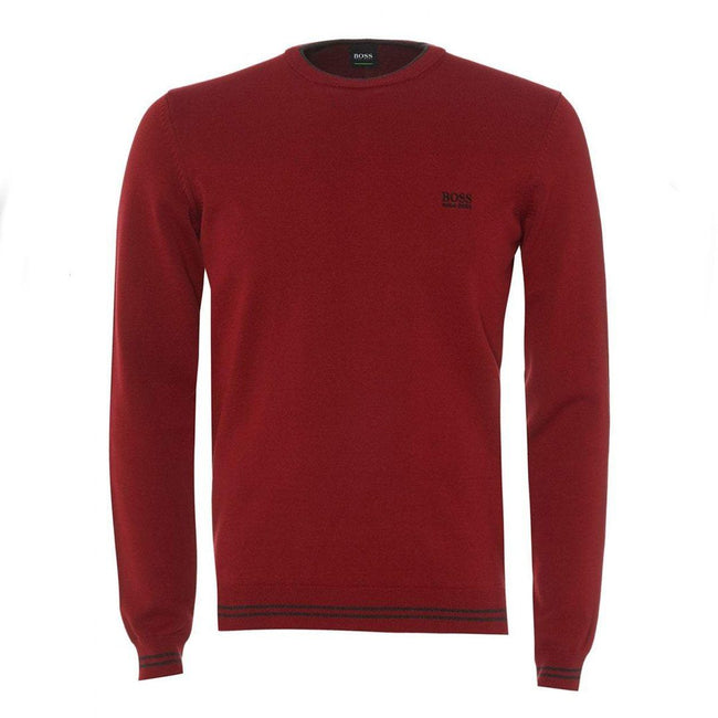 BOSS Athleisure Rimex Crew Neck Jumper in Burgundy