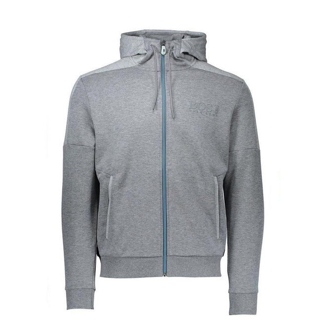 BOSS Athleisure Saggy Ziphood Sweatshirt in Medium Grey