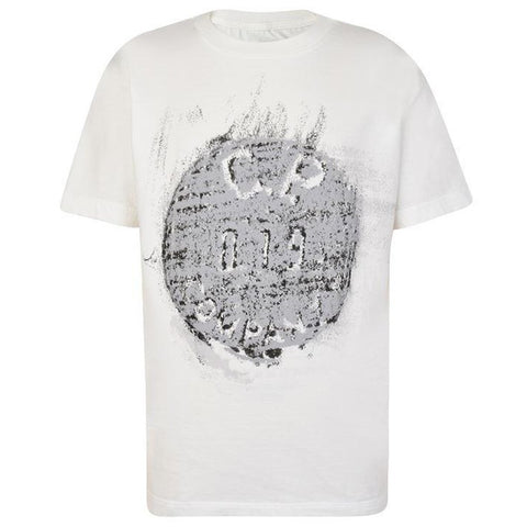 Button Print Crewneck T-Shirt in White T-Shirts CP Company
