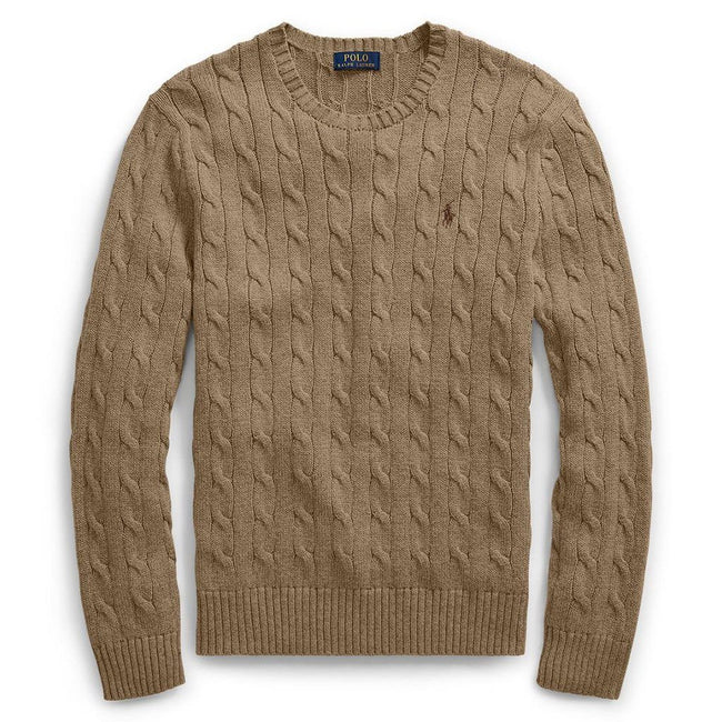 Ralph Lauren Cable-Knit Cotton Sweater in Honey Brown