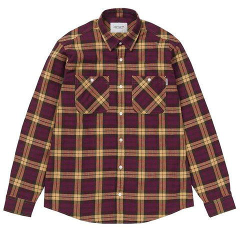 Carhartt Sloman Check Shirt in Mulberry / Fawn Shirts Carhartt