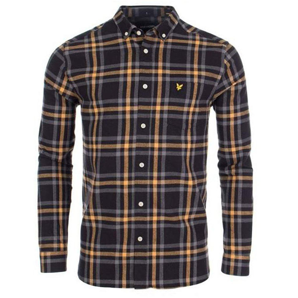 Lyle & Scott Check Flannel Shirt in Black / Grey