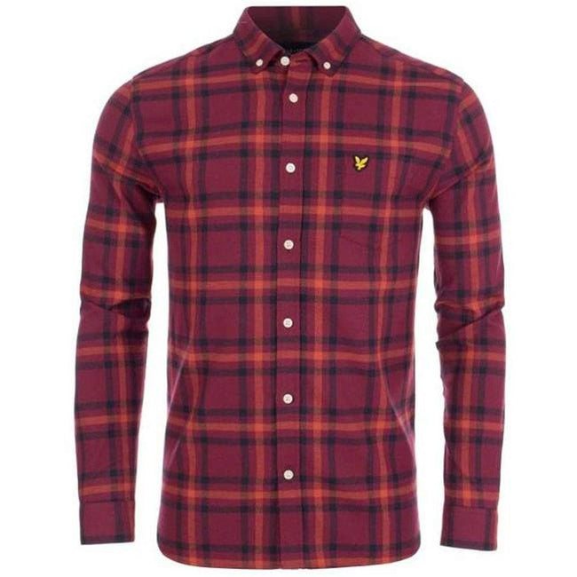 Lyle & Scott Check Flannel Shirt in Claret Jug / Navy