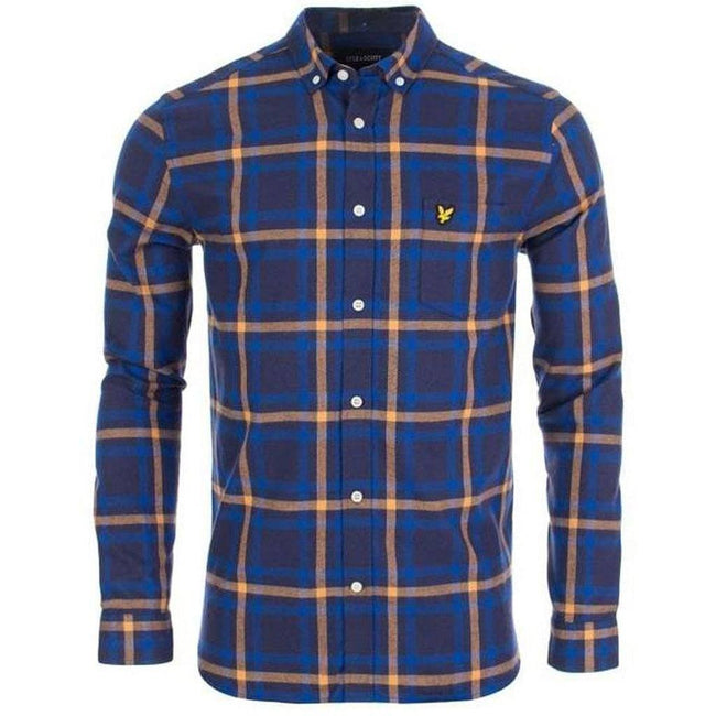 Lyle & Scott Check Flannel Shirt in Duke Blue / Navy