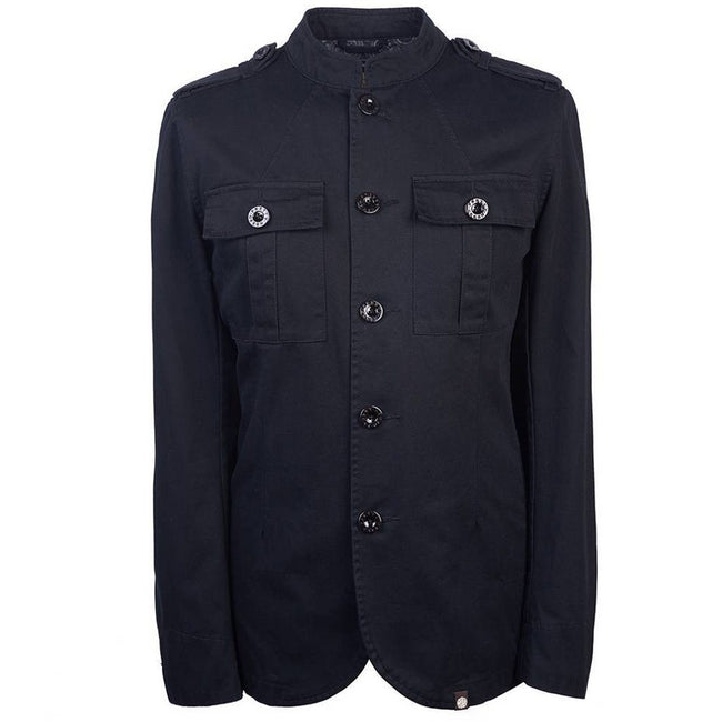 Pretty Green Cotton Button up Jacket in Black