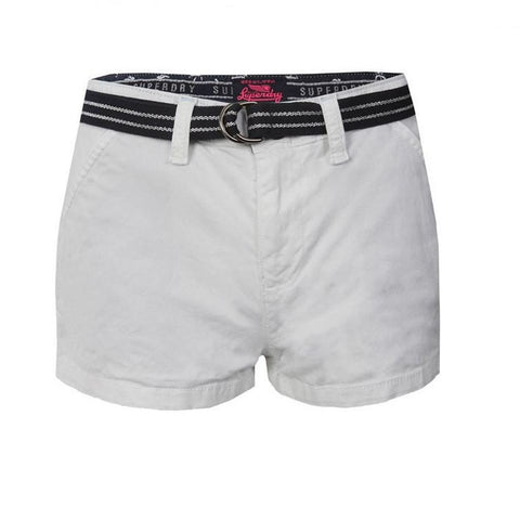 Ladies Superdry International Hot Short in White Shorts Ladies Superdry