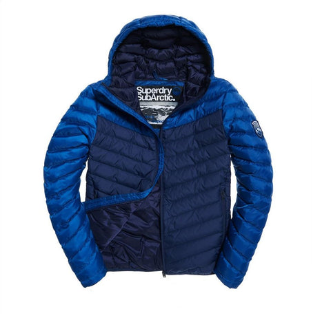 Superdry Chervon Colour Block Down Jacket in Classic Navy Coats & Jackets Edwards Menswear