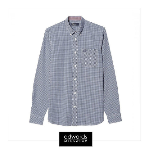 Fred Perry M6377-126 Gingham Shirt in Blue