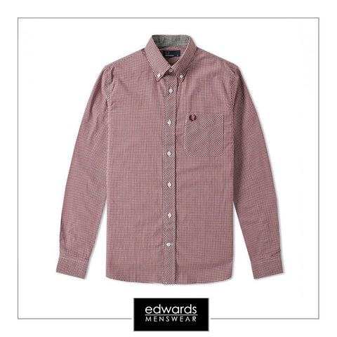 Fred Perry M6377-799 Gingham Shirt in Mahogany