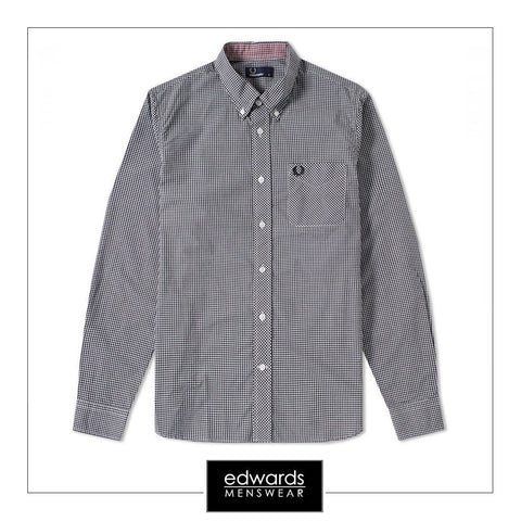 Fred Perry M6377-126 Gingham Shirt in Black