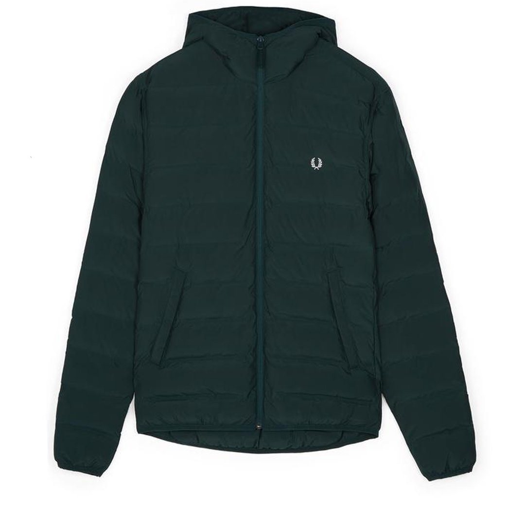 Fred Perry J2514 Insulated Hooded Brentham Jacket in Dark Emerald