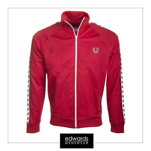 Fred Perry Taped Track Jacket in Blood Red