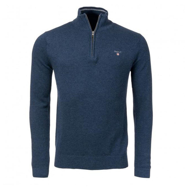 Gant Cotton Pique Half Zip in Dark Jeans Blue Melange