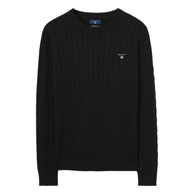 Gant Cotton Cable Crew Jumper in Black