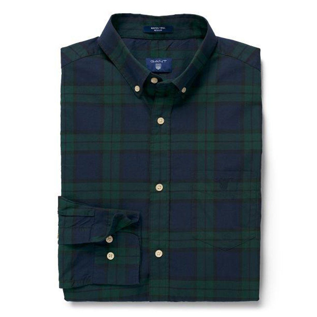Gant Winter Twill Blackwatch Shirt in Green