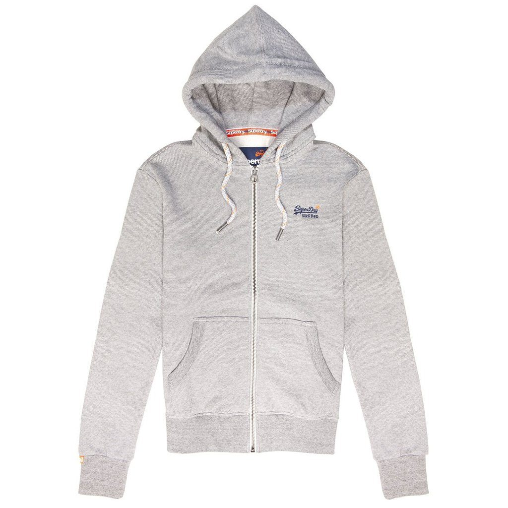 Superdry Vintage Orange Label Zip-Hood in Grey Feeder Stripe