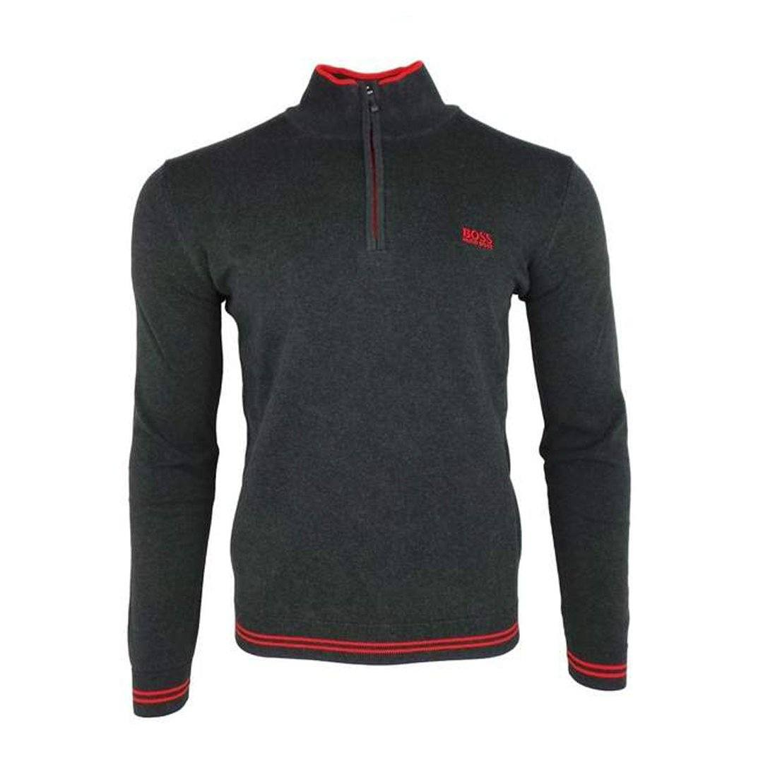 BOSS Athleisure Zimex Quarter Zip Jumper in Charcoal / Red
