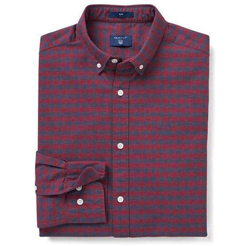 Gant Heather Oxford Gingham Shirt in Winter Wine Shirts Gant