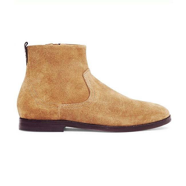Hudson Lancing Suede Boots In Sand