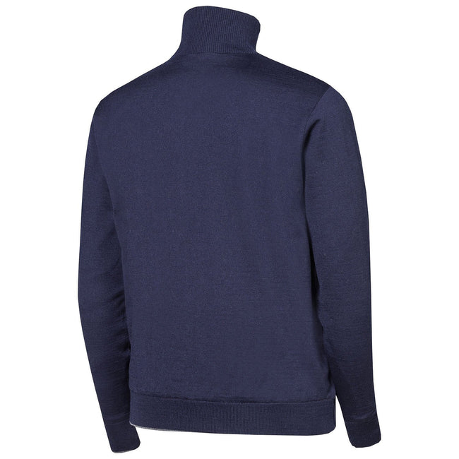 Oscar Jacobson Iwan Pin Half Zip in Navy Blue