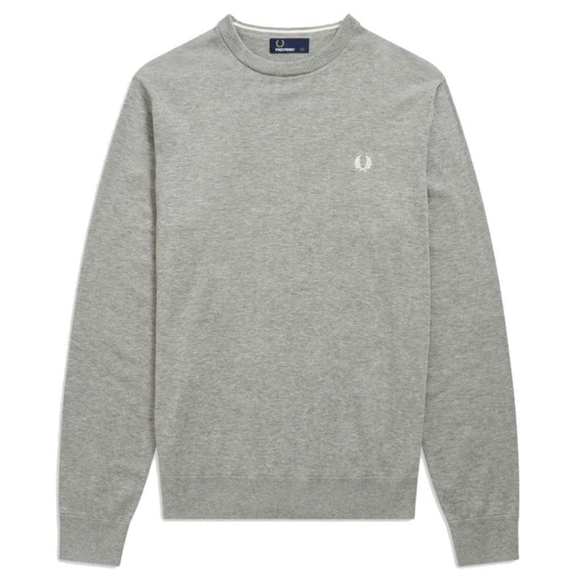 Fred Perry K5523-420 Crew Neck Jumper in Steel Marl Jumpers Fred Perry