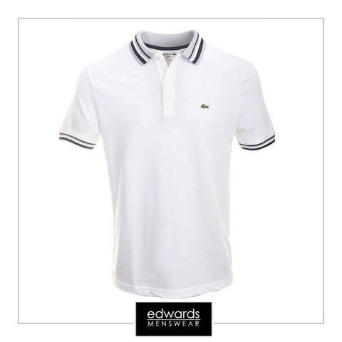 Lacoste PH0083 White/Blue Pique Polo Shirt