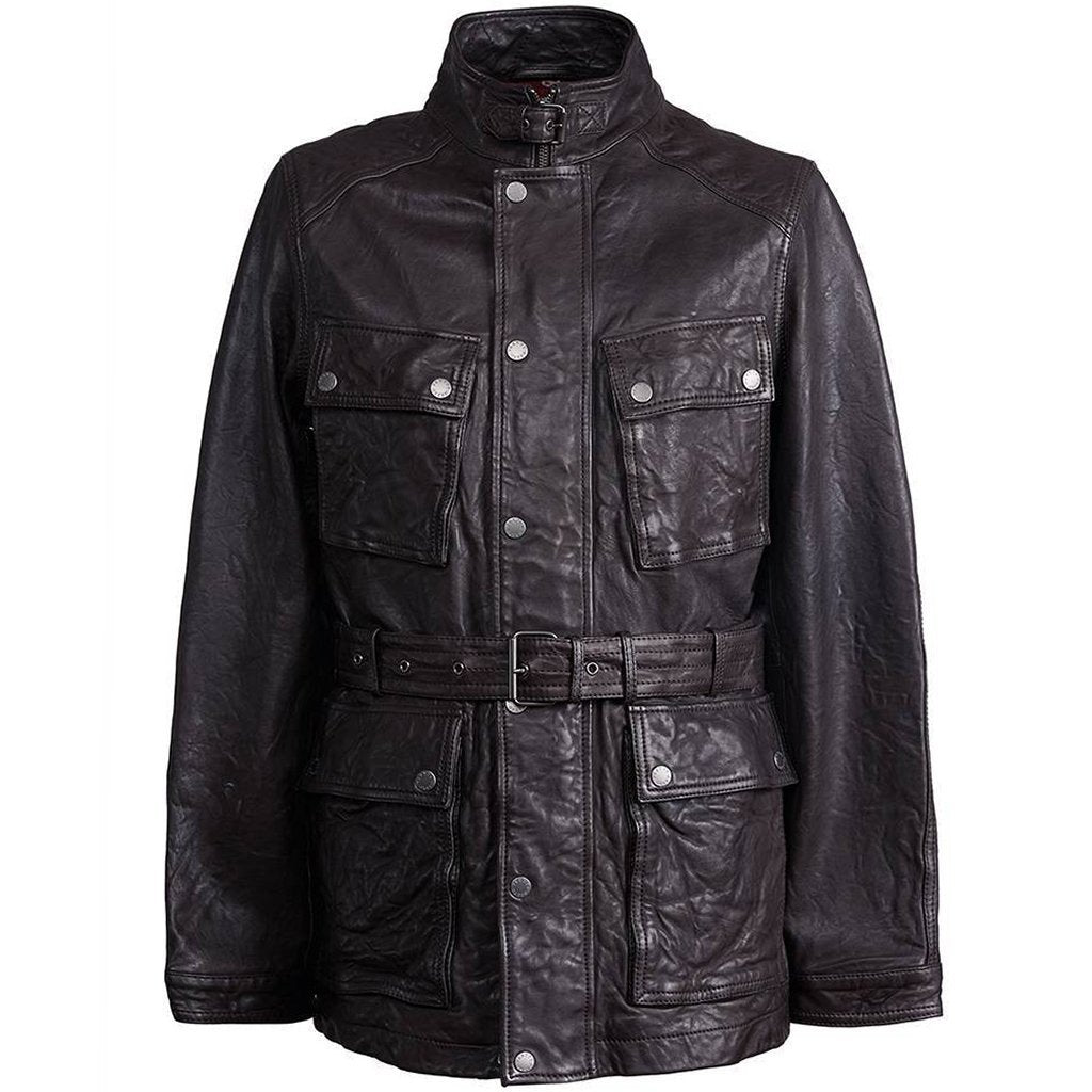 Pretty Green Leather Zip Through Jacket in Brown