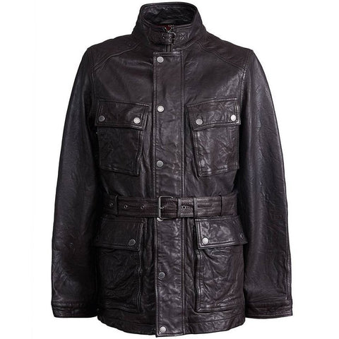 Pretty Green Leather Zip Through Jacket in Brown Coats & Jackets Pretty Green