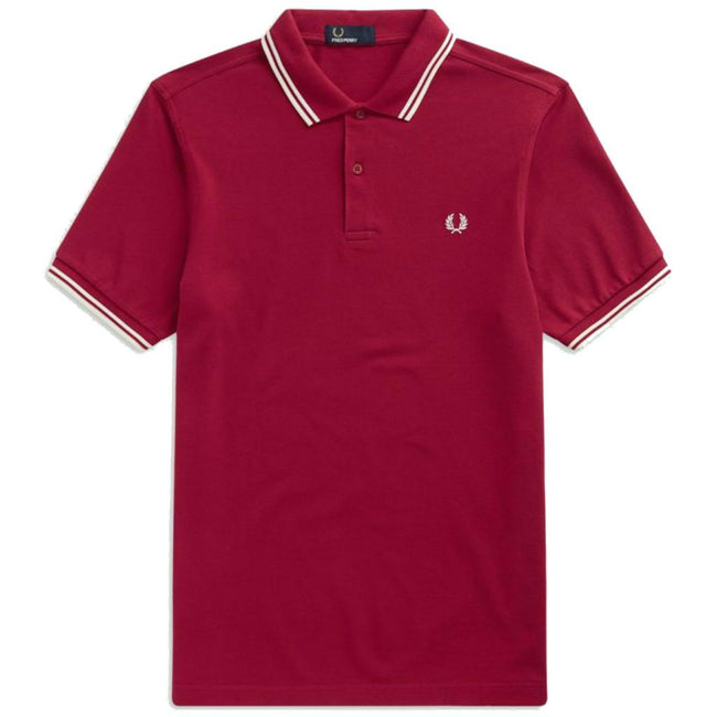 Fred Perry M3600 Twin Tipped Polo Shirt in Claret Polo Shirts Fred Perry