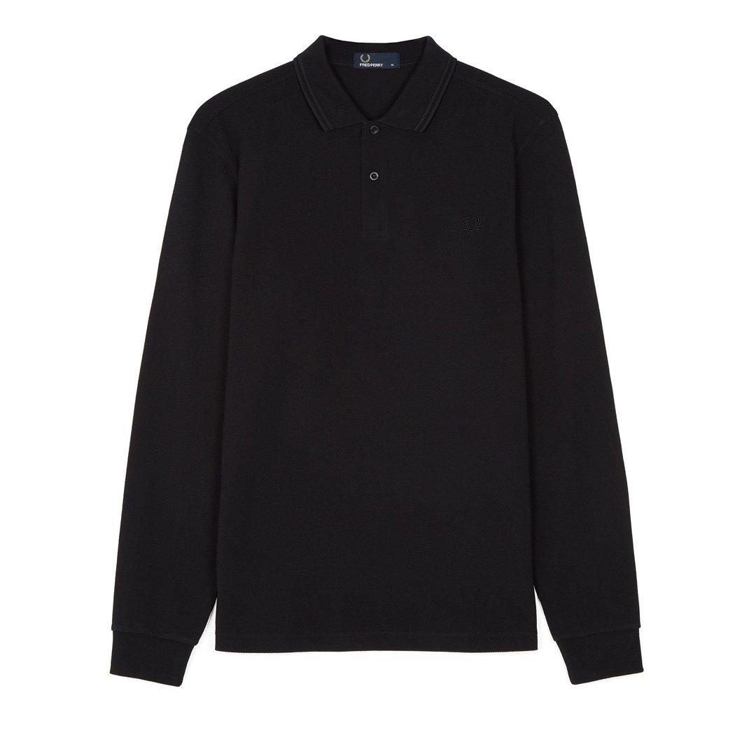 Fred Perry M3636 Long Sleeved Twin Tipped Polo in Black / Black