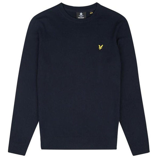 Lyle & Scott Cotton Merino Crew Neck Jumper in Dark Navy