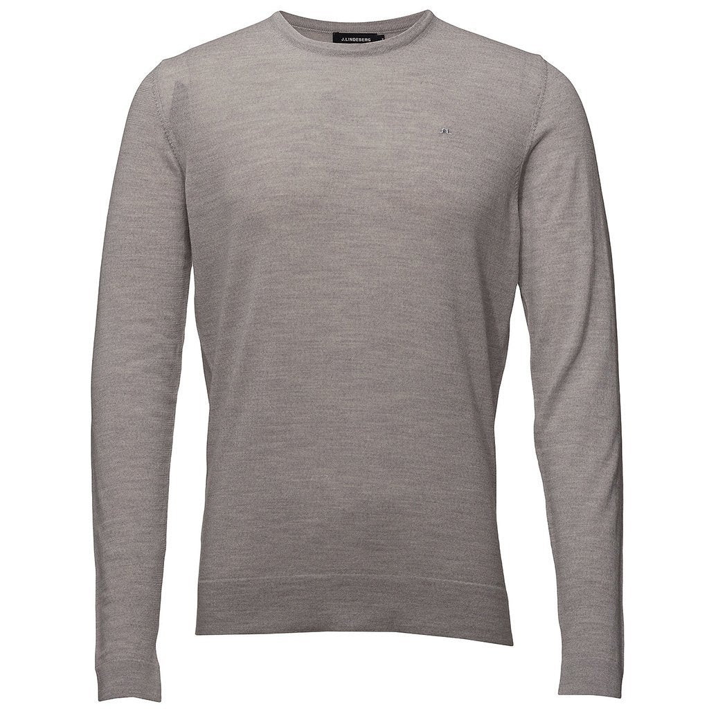 J. Lindeberg R-Neck Perfect Merino Jumper in Stone Grey