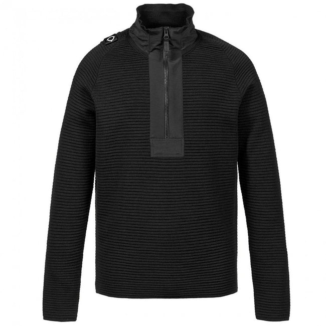 MA.STRUM Merino Quarter Zip in Jet Black