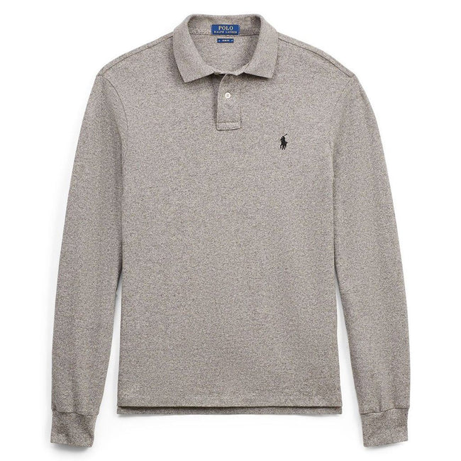Ralph Lauren Slim Fit Mesh Long Sleeve Polo in Grey