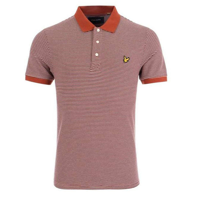 Lyle & Scott Feeder Stripe Polo Shirt in Brown Spice