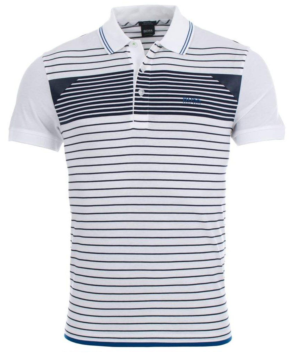 a037dcf18 BOSS Paddy 5 Striped Polo Shirt in White – Edwards Menswear