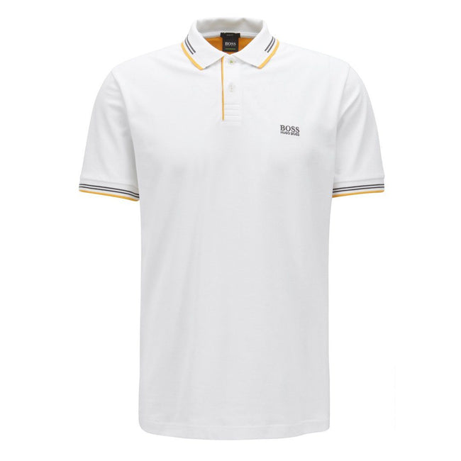 BOSS Athleisure Slim Fit Paul Polo Shirt in White