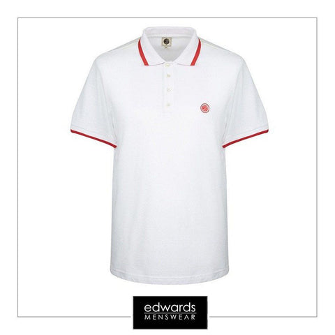 Pretty Green White Multi-Stripe Pique Polo
