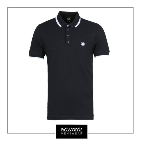 Pretty Green Multistripe Polo Shirt in Black