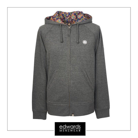 Pretty Green Raynham Paisley Lined Hoody in Grey Marl