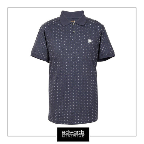 Pretty Green Polka Dot Polo Shirt in Navy