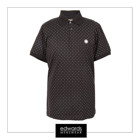 Pretty Green Polka Dot Polo Shirt In Black