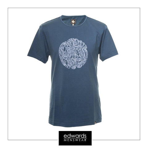 Pretty Green Printed Indian Teal T-Shirt Linear Logo