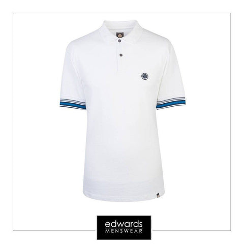 Pretty Green Tedburn SS Polo Shirt in White