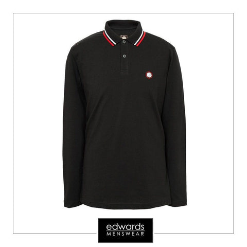 Pretty Green Long Sleeved Polo Shirt in Black