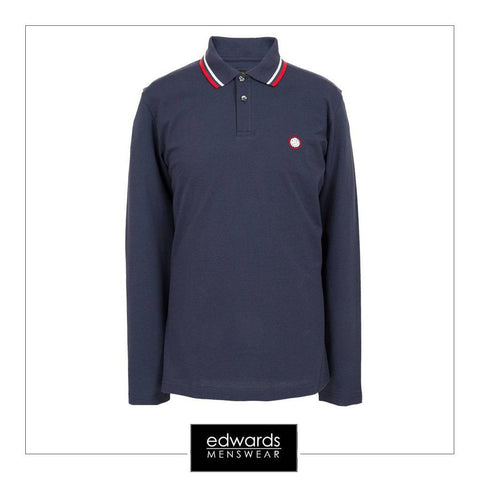 Pretty Green Long Sleeved Polo Shirt in Navy