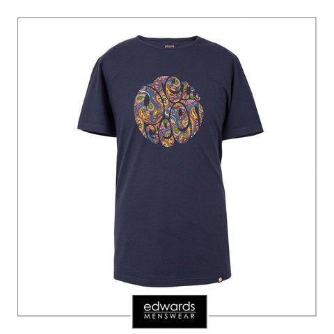 Pretty Green Paisley Tee in Navy