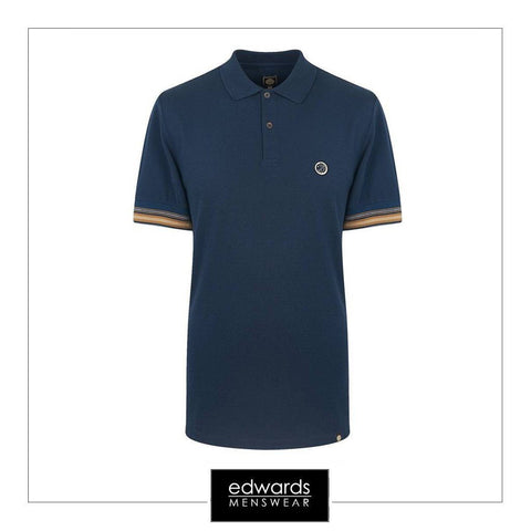 Pretty Green Tedburn SS Polo Shirt in Navy