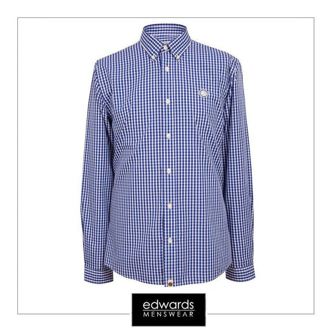 Pretty Green Ebsworth Gingham Navy Check Shirt