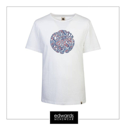 Pretty Green Camley Paisley Applique Tee in White